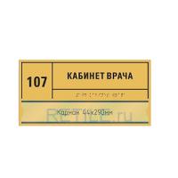 Комплексная тактильная табличка СТАНДАРТ с карманом на ПВХ 150х300 мм