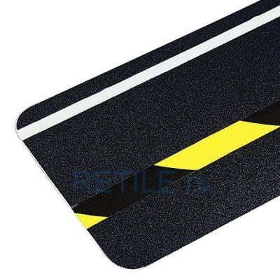 Противоскользящая черная наклейка с жёлто-чёрной и фотолюминесцентной вставкой